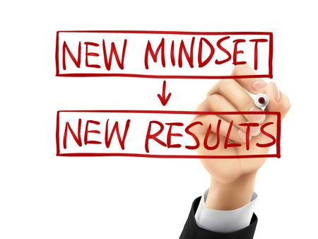 mindset: new mindset for new results words written by hand on a transparent board Illustration