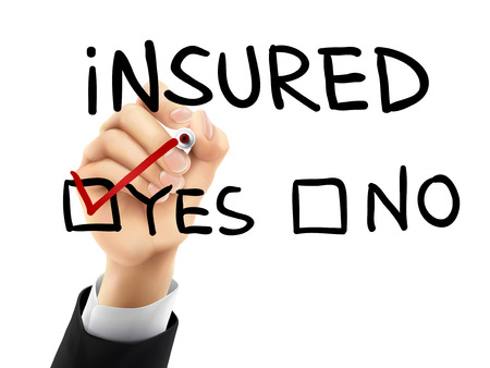 insecure: yes insured words written by hand on a transparent board Illustration
