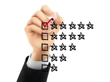 satisfactory: voting five stars by hand on a transparent board Illustration