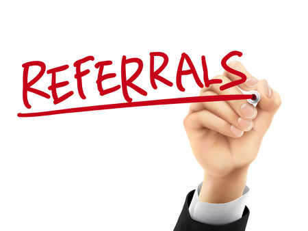 referral: referrals word written by hand on a transparent board