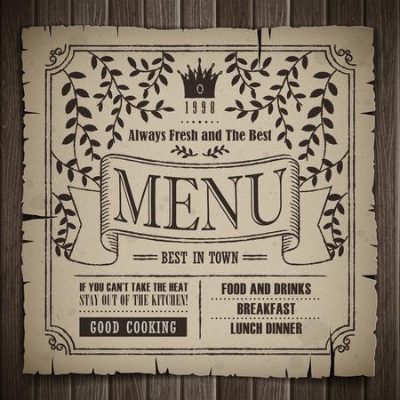 carte: restaurant menu design in retro style over wooden background