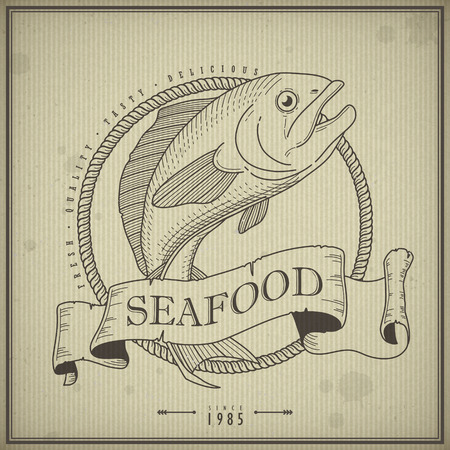 retro seafood menu poster design with hand drawn fish Vector