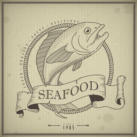 beverage display: retro seafood menu poster design with hand drawn fish Illustration