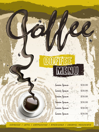 top menu: coffee house menu design with top view coffee over modern background