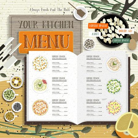 レシピとカラフルなスパイスの素敵なキッチン メニュー