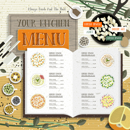 introduction: lovely kitchen menu with recipe and colorful spices Illustration