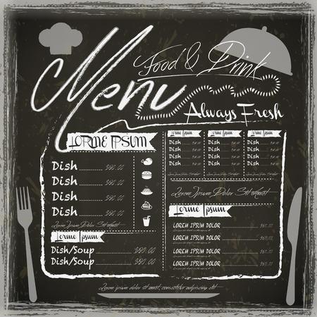 carte: vintage restaurant menu design with blackboard background Illustration
