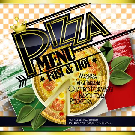 top menu: attractive pizza menu design in top view style Illustration