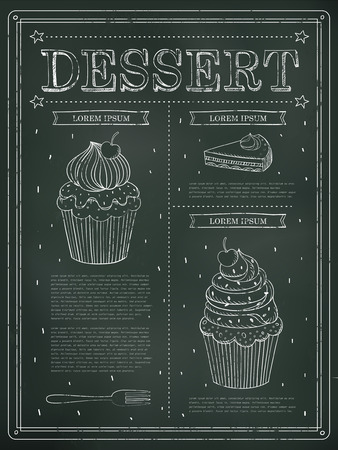 carte: lovely dessert menu design with blackboard and hand drawn elements