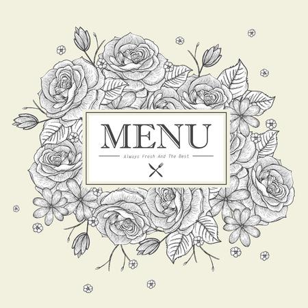 carte: graceful restaurant menu design with roses in beige