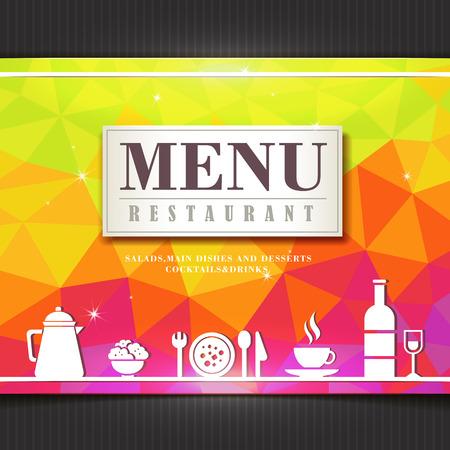 modern restaurant: modern restaurant menu design in polygon style