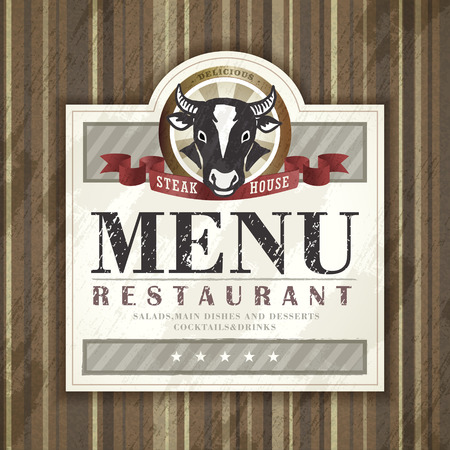 carte: steak house restaurant menu design with ox graphic