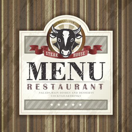 steak house restaurant menu design with ox graphic