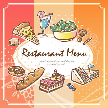 cartoon menu: lovely restaurant menu with cartoon food graphics Illustration