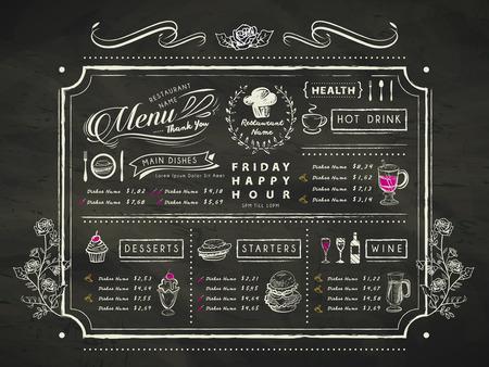 retro restaurant menu design with hand drawn elements in black Illustration