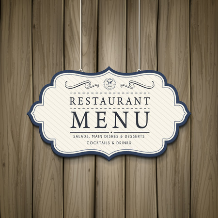 hungry: elegant restaurant menu design in wooden style