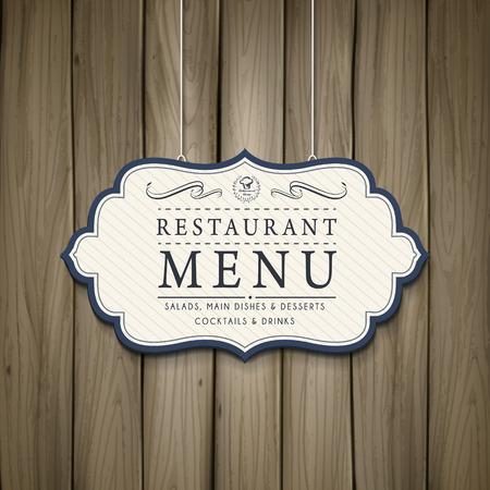 menu: elegant restaurant menu design in wooden style