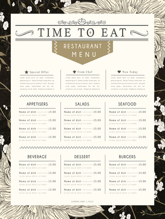 menu restaurant: graceful restaurant menu design with flower elements in black