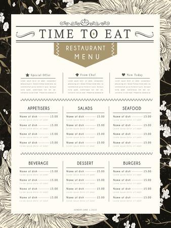 carte: graceful restaurant menu design with flower elements in black