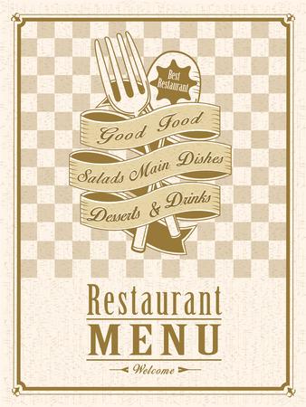 carte: retro restaurant menu design with tableware elements