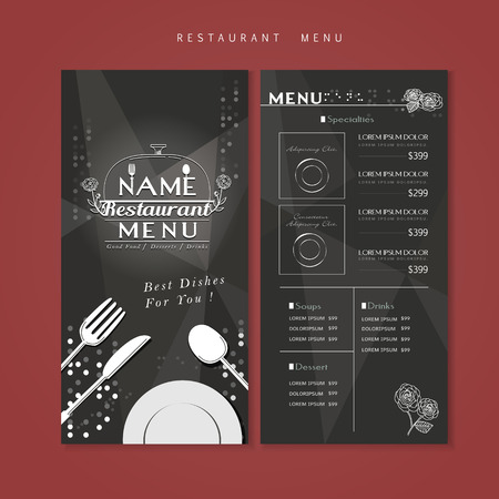 carte: sparkling restaurant menu design with tableware elements Illustration