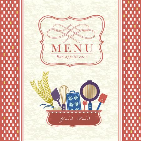 carte: lovely restaurant menu design with kitchenware elements Illustration