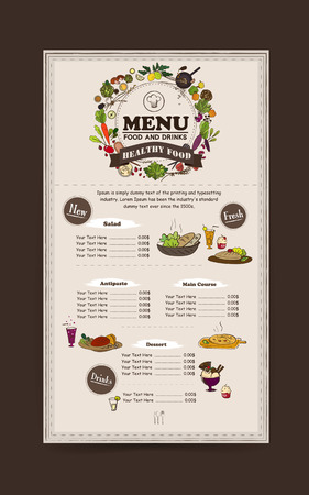 ingredient: adorable restaurant menu design with food ingredient elements