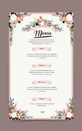 かわいい花の要素を持つ優雅なレストラン メニュー デザイン  イラスト・ベクター素材