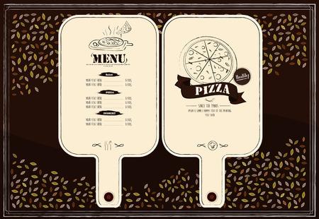 carte: creative restaurant menu design in pizza paddle shape
