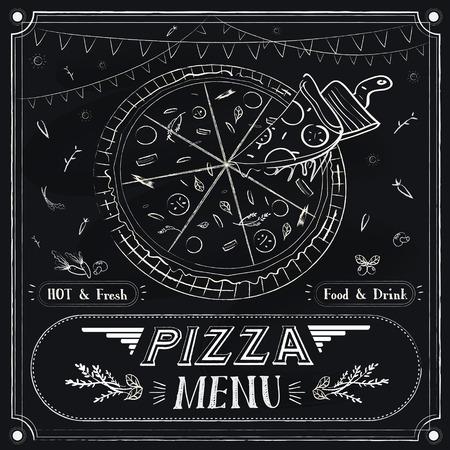 carte: creative pizza menu design over black background