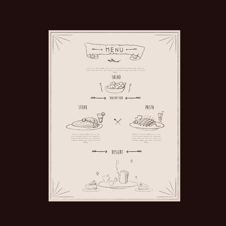carte: elegant restaurant menu design with hand drawn food graphics