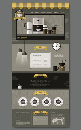 coffee shop concept one page website design in flat design Vector