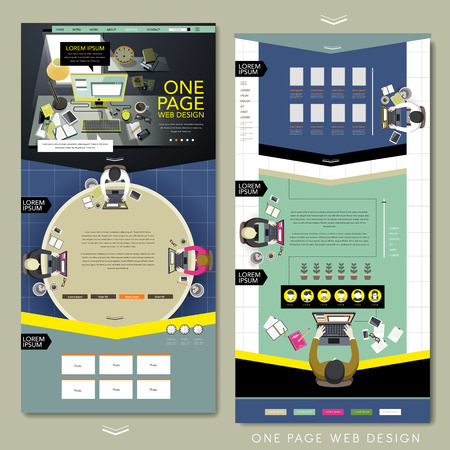 one on one meeting: top view of work area one page website design in flat design Illustration