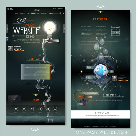 page layout: creative one page website design template with lighting bulb and water resource elements Illustration