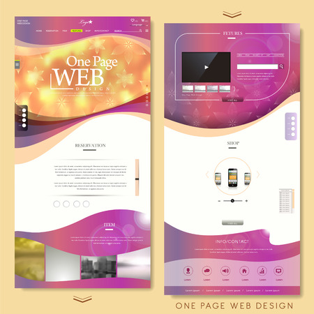 trendy one page website design template over blurred background