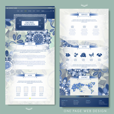exquisiteness: gorgeous flower one page website design template in blue and white