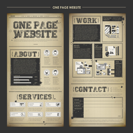 nostalgic: vintage one page website design template in nostalgic paper style