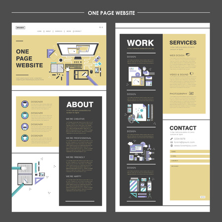 creative one page website design template with top view of work place Çizim