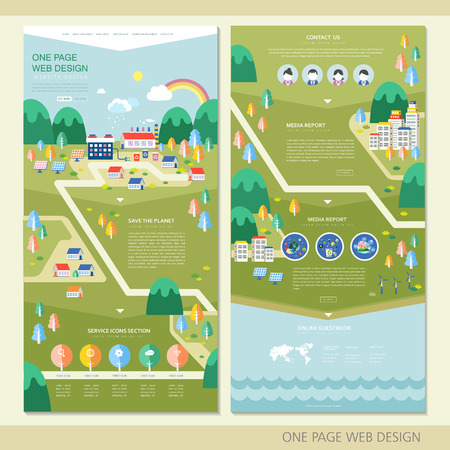 tree services company: ecology concept one page website design template in flat