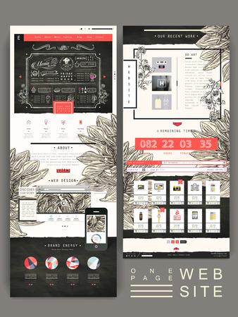 優雅な 1 ページのウェブサイトのデザイン テンプレート手で描かれた花の要素