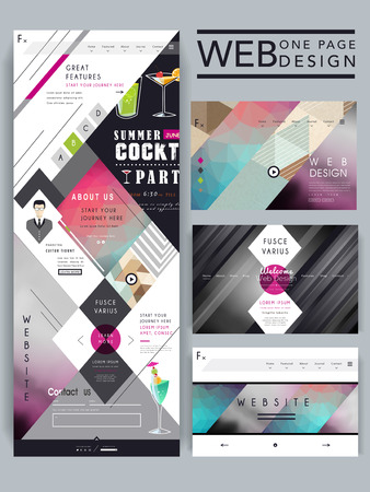 trendy one page website design template with geometric element 일러스트