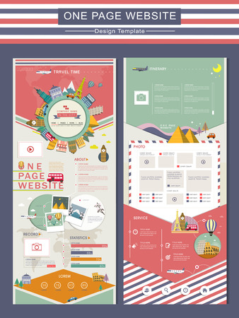 평면에서 사랑스러운 개념을 여행 한 페이지 웹 사이트 디자인 템플릿