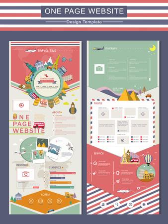 adorable reisconcept één pagina website ontwerp sjabloon in flat Stock Illustratie