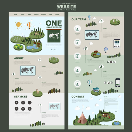 commercial tree service: nature one page website design template with lovely animals and forest Illustration