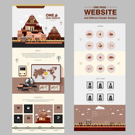 lief één pagina website ontwerp sjabloon met de stad scene elementen