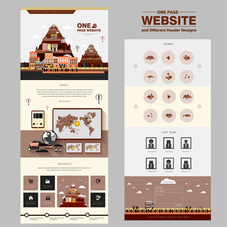 lovable one page website design template with city scene elements