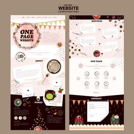 attractive one page website design template with colorful dishes