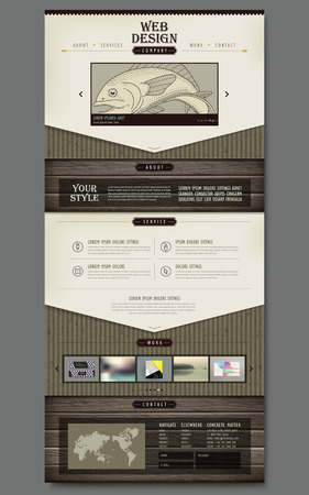 retro one page website design with hand drawn fish and wooden texture elements Vector