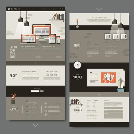 kantoor interieur één pagina website ontwerp in plat ontwerp