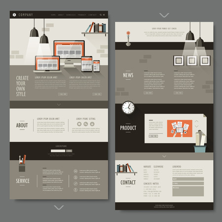 interior design: office interior one page website design in flat design Illustration